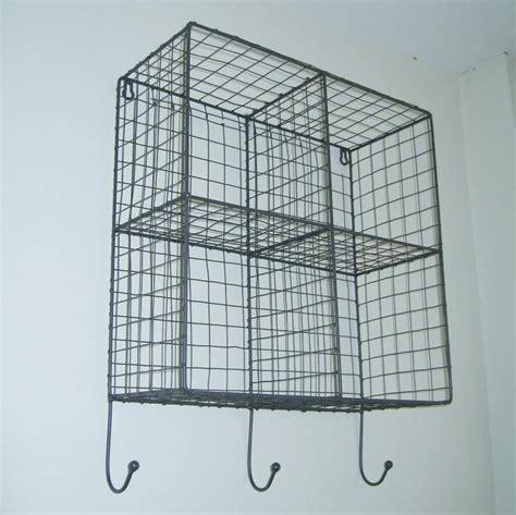 vintage industrial style metal wire storage shelf wall