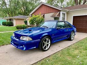3rd generation blue 1988 Ford Mustang V8 manual For Sale - MustangCarPlace