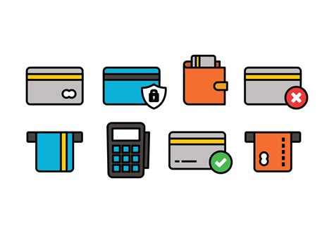credit card icon set   vectors clipart