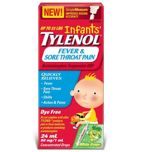 Infants Tylenol Fever Sore Throat Pain Tylenol
