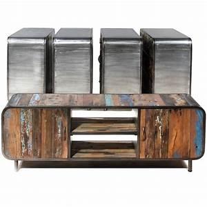 Meuble Industriel Vintage : meuble tv industriel vintage m tal et bois de bateau recycl pas cher ~ Nature-et-papiers.com Idées de Décoration
