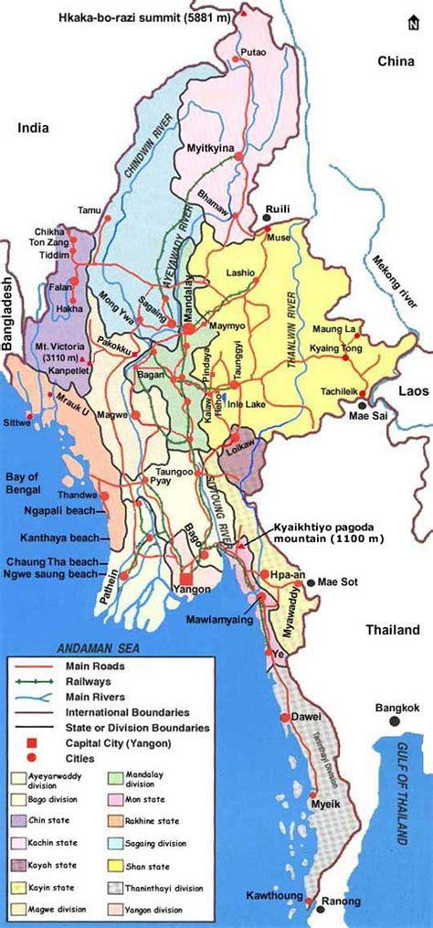 country map  myanmar burma