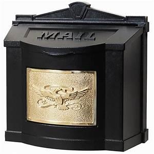 Buy Gaines WM-3 Wallmount Black with Brass Eagle Mailbox ...