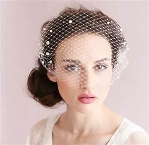 Vintage Wedding Bridal White Birdcage Veil Face Net Pearl