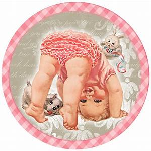 Cute Baby Girl Free Printable Cards, Toppers or Labels