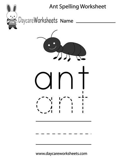 preschool ant spelling worksheet