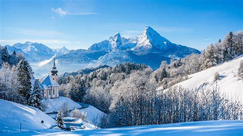 wallpaper bavarian alps winter landscape church germany