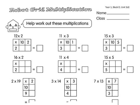 grid multiplication a year 3 multiplication worksheet