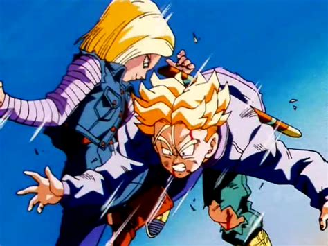trunks vs androids z android 18 vs images 18 beats up on