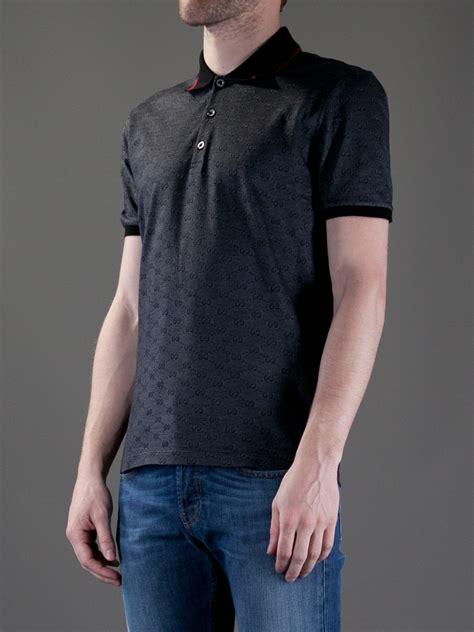 gucci monogram polo shirt  black  men lyst