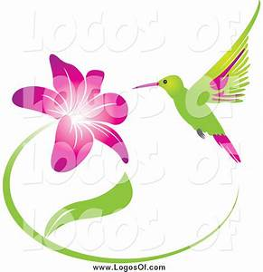 Vector Clipart of a Green and Pink Hummingbird and Purple ...