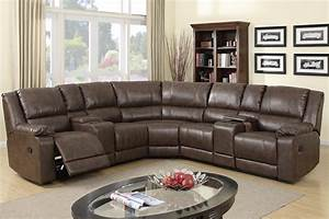 Furniture faux dark brown leather reclining sectional for Sectional sofas with 4 recliners