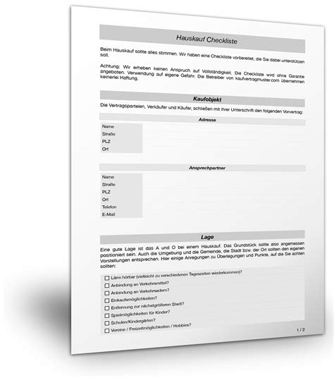 Wohnung Kaufen Checkliste by Kostenlose Checkliste F 252 R Einen Hauskauf