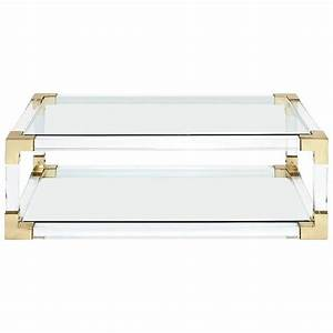 Highlight coffee table with acrylic glass and gold finish for Used acrylic coffee table