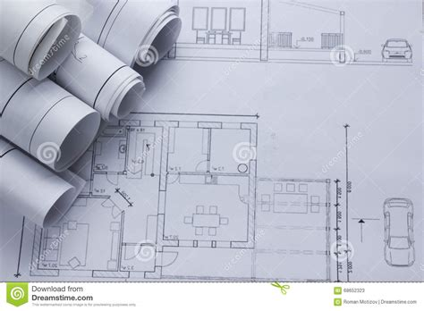 Architect Worplace Top View. Architectural Project