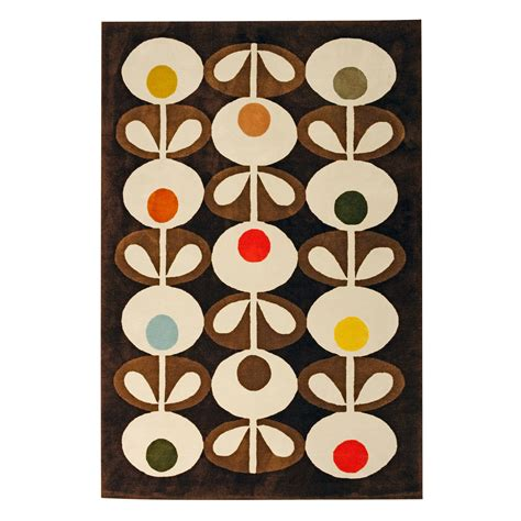 orla kiely oval flowers rug brown the great design store