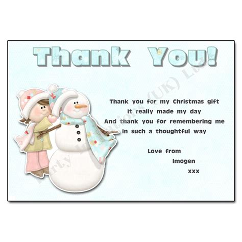 building a snowman thank you note christmas thank you