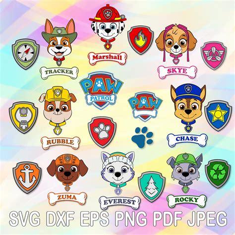 svg paw patrol vector cut files heads bones logo shields
