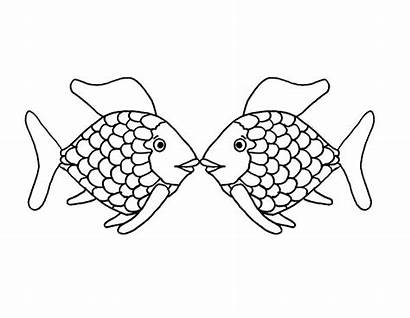 Coloring Kissing Fish Pages Eyes Each Staring