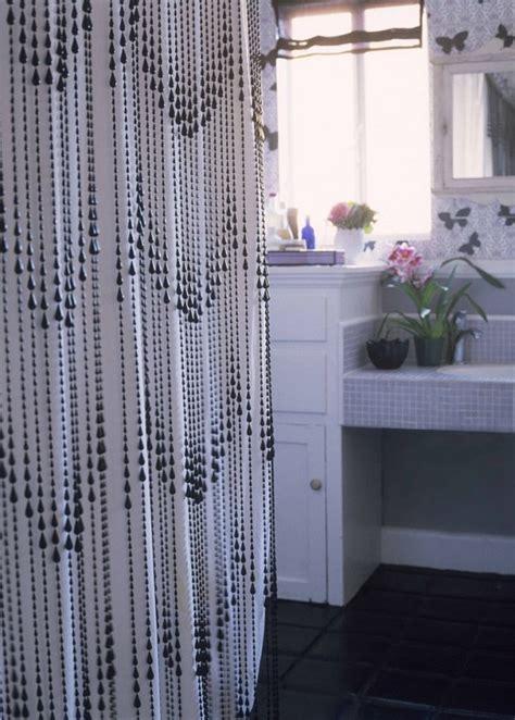 black beaded curtains shower curtain diys to rev your bathroom