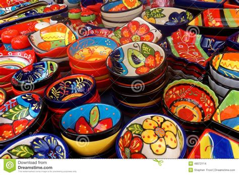 colorful dishes display of colorful dishes in madeira stock photo image
