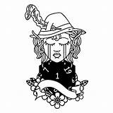 Elf Bard Character Crying Face Natural Linework Tattoo Illustrations Vectors sketch template