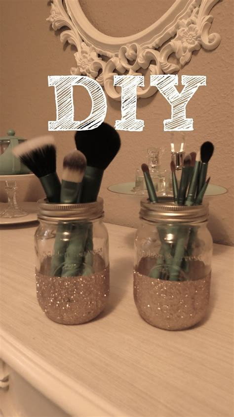 Diy Glitter Mason Jar Brush Holder Best Diy Projects