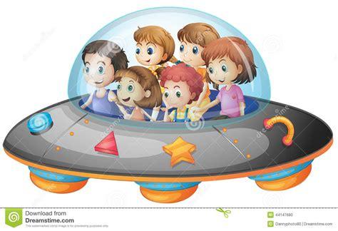 Children In Spaceship Stock Vector. Illustration Of