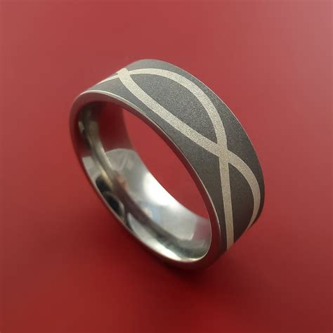 sterling silver infinity symbol and titanium ring wedding