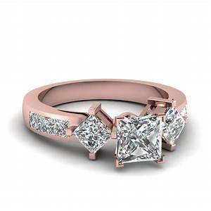 Princess Cut Diamond Engagement Ring In 14K Rose Gold ...