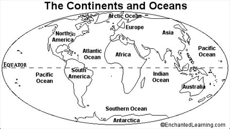 continents and oceans quiz printout enchantedlearning