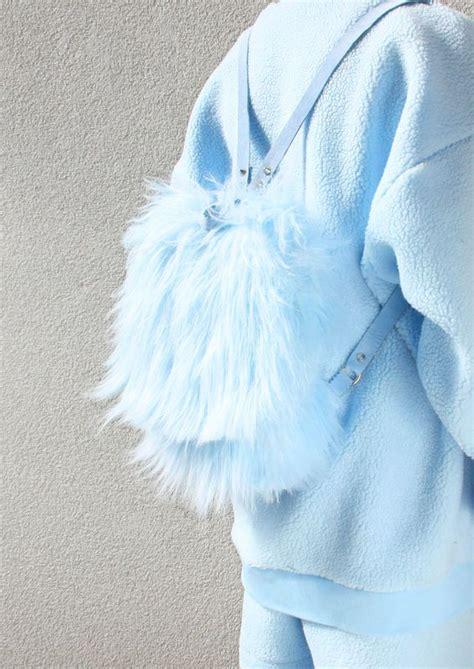 Baby Blau Farbe by Baby Blue Faux Fur Backpack Backpacks Baby Blau