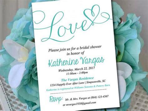 bridal shower invitation template heart wedding shower