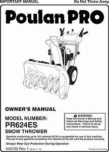 Poulan 96192003701 Pr624es Ow E 443725 R1 User Manual
