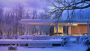 Farnsworth, House, In, Winter