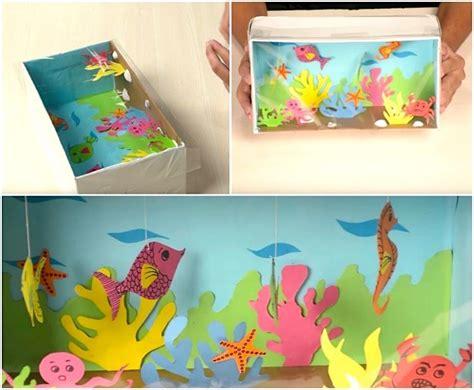 basteln mit schuhkarton unterwasserwelt im schuhkarton aus buntem papier basteln