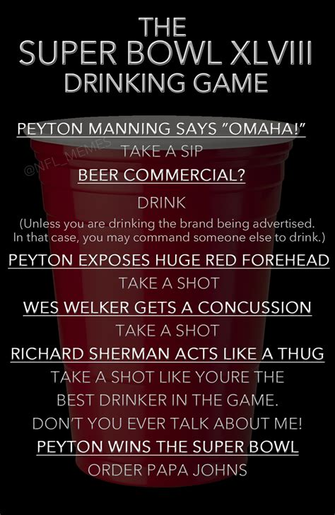 super bowl xlviii drinking game daily snark