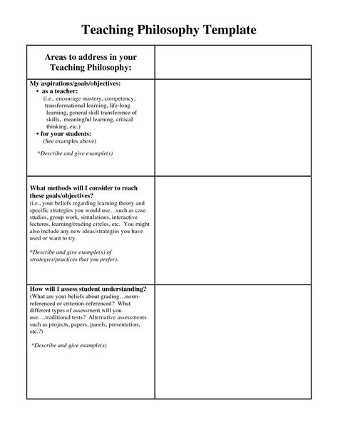 teaching philosophy template teaching philosophy exles teaching philosophy statement teaching