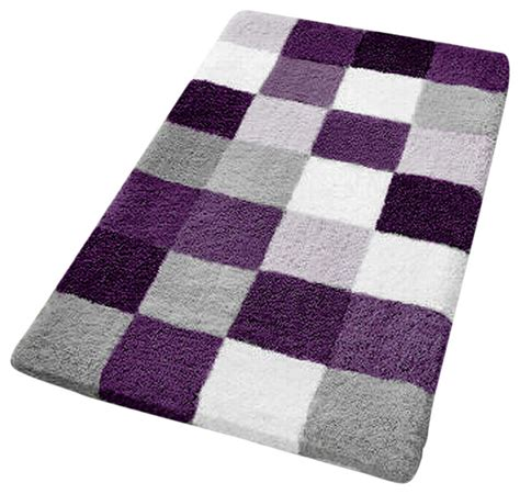 purple checker pattern rich multi color plush bathroom rug