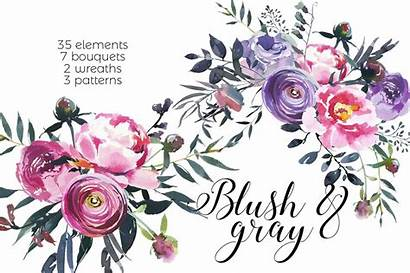 Watercolor Blush Flowers Gray Clipart Thehungryjpeg