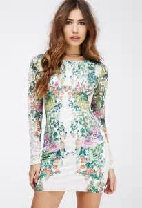 forever 21 floral printed lace bodycon dress