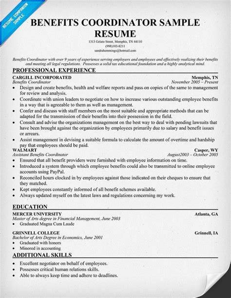 Benefits Analyst Resume by Coordinator Of Benefits And Services Resume