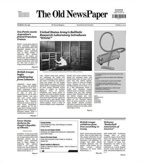 FREE 9+ Sample Old Newspaper Templates in PDF | PSD | MS Word
