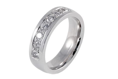 Mens 18ct White Gold 7 Stone Diamond Wedding Ring