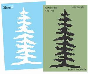 "Lodge STENCIL 8"" tall Rustic Mountain Pine Tree Cabin Lake"