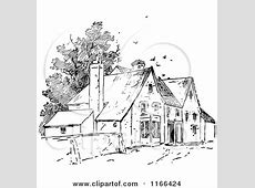 Clipart of Retro Vintage Black and White Birds over Houses
