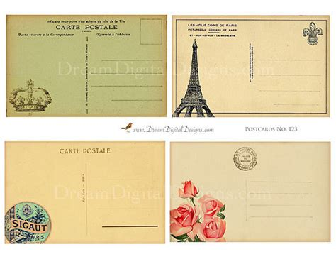 Vintage Tarjeta Postal Francés Respalda Hoja De Collage