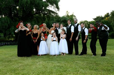 goofy wedding party red white and black wedding vw351065