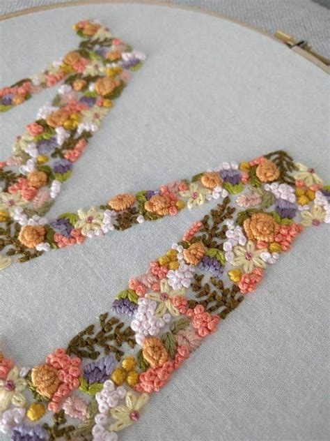 hand embroidered letter monogram letter floral letter hoop art embroidery monogram
