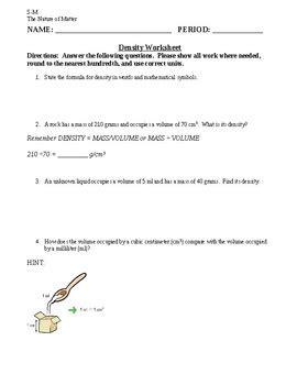Density Practice Problem Worksheet Siteraven